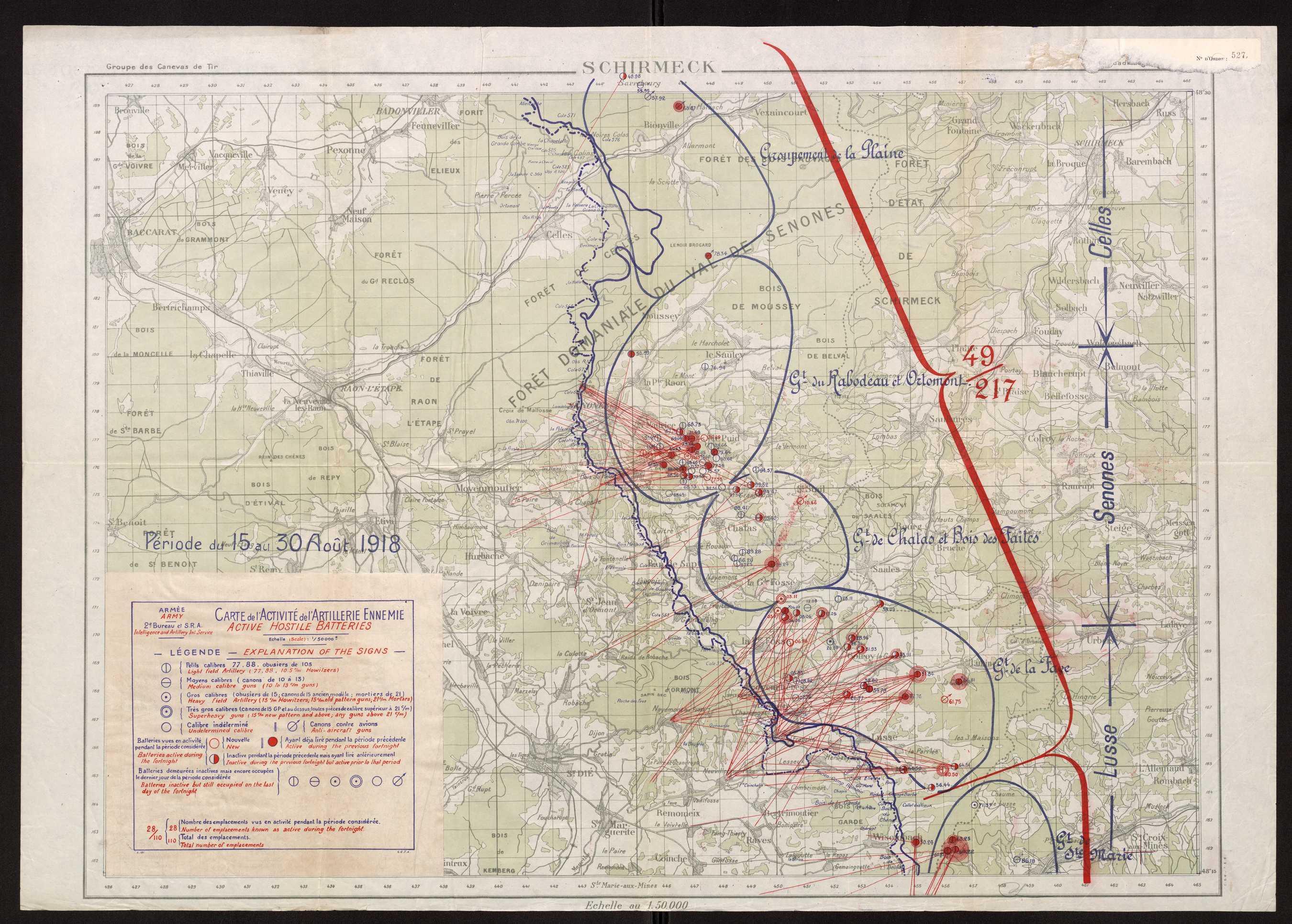 Carte Schirmeck Alsace.Carte Premiere Guerre Mondiale 15 08 1918 Echelle 1