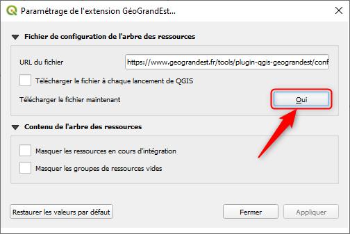 Mise à jour plugin QGIS